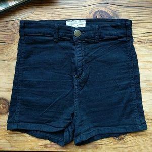 Current/Elliott Black High Waist Stretch Shorts
